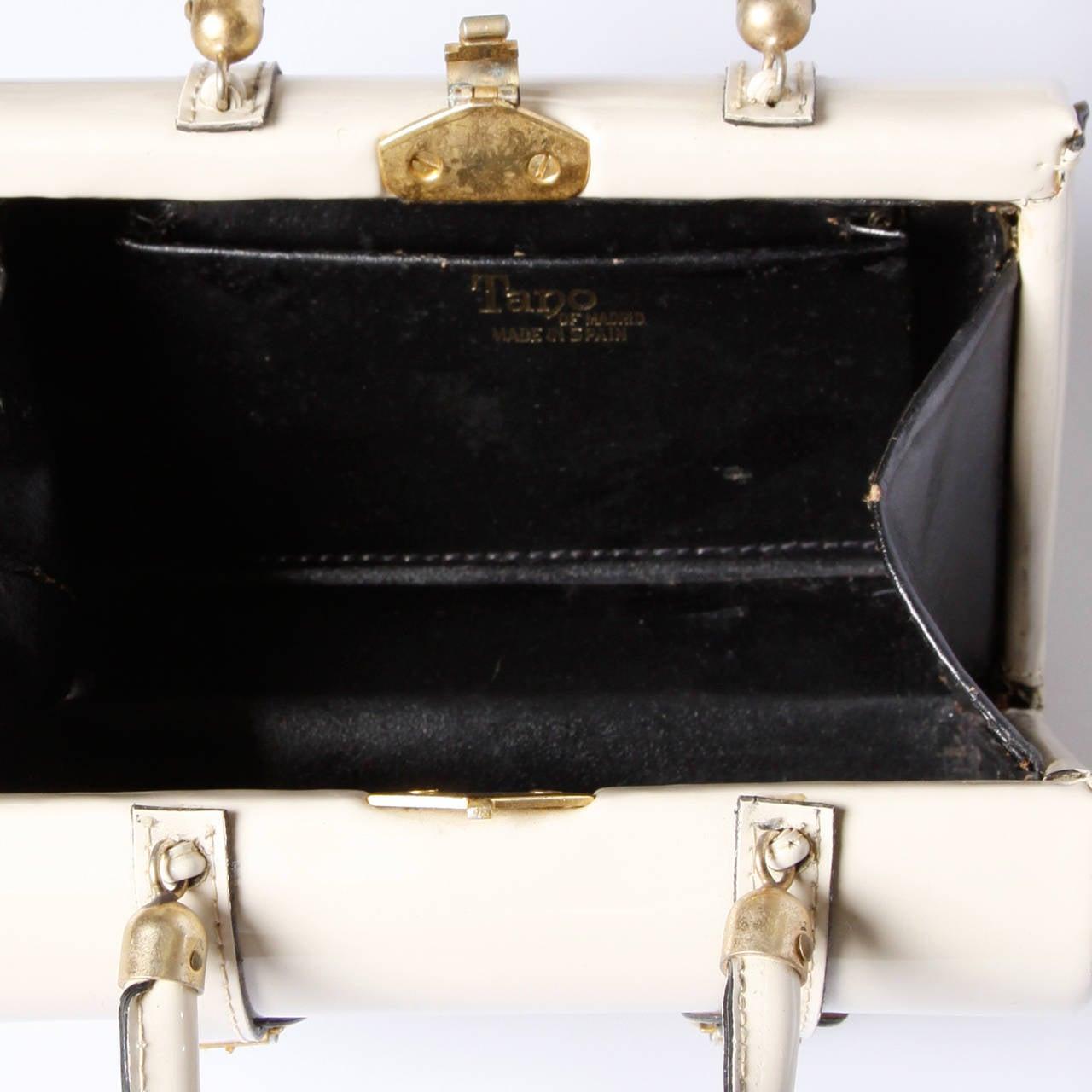 "Tano of Madrid Vintage Patent Leather Mini ""Satchel"" Style Hand Bag 5"