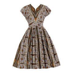 Vintage Screen Print Cotton Patio Dress with a Full Sweep, 1950s