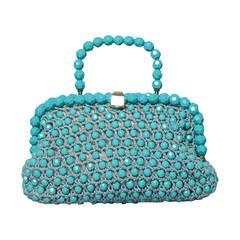 Harry Rosenfeld Vintage 1960s Blue Beaded Cord Bag or Purse