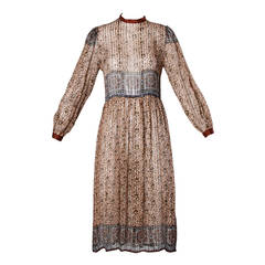 1970s Paper Thin Silk Dress with an Indian Print