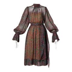 Pauline Trigere Vintage 1970s Metallic Silk 3-Piece Dress + Sash