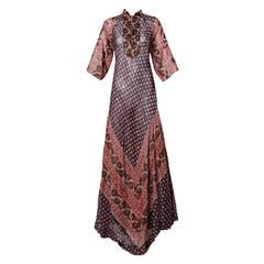 1970s Vintage Indian Screen Print Cotton Gauze Maxi Dress