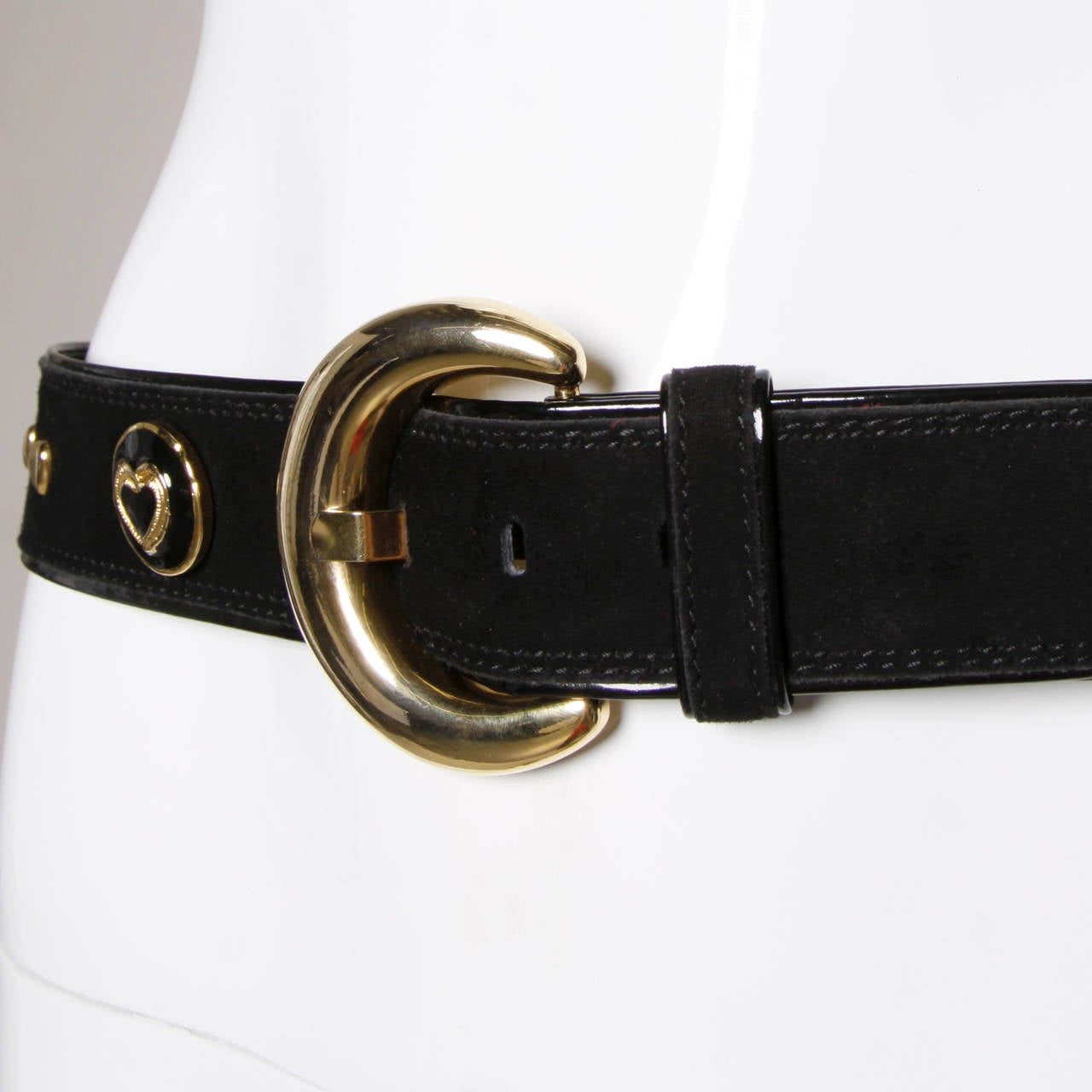 Women's Escada Vintage Black Leather Heart Belt For Sale