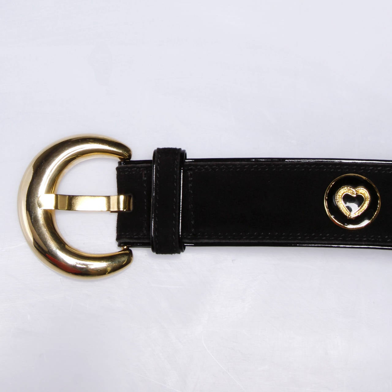 Escada Vintage Black Leather Heart Belt For Sale 3