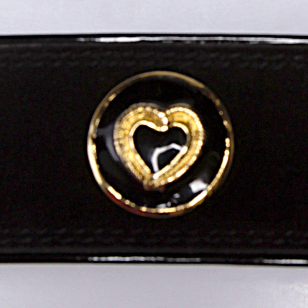 Escada Vintage Black Leather Heart Belt 6