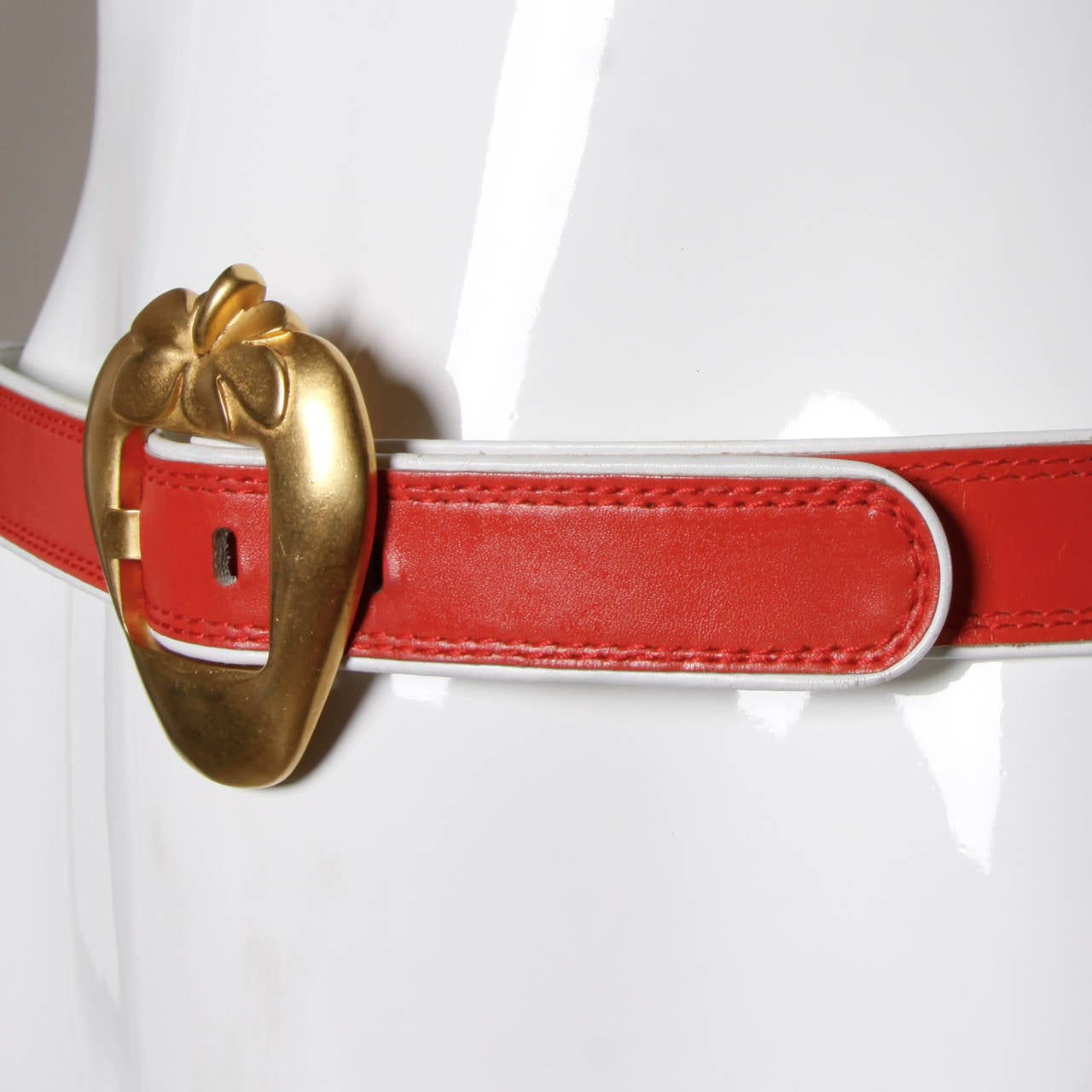 "Escada Vintage Red Leather ""Strawberry"" Belt 3"
