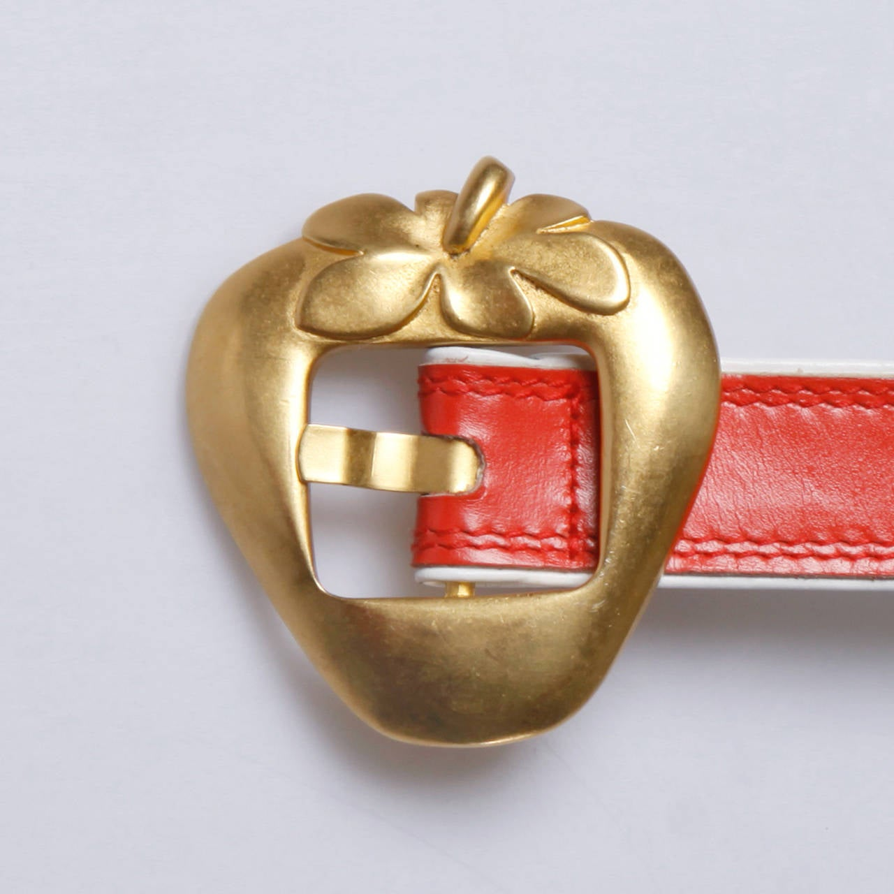 "Escada Vintage Red Leather ""Strawberry"" Belt 6"