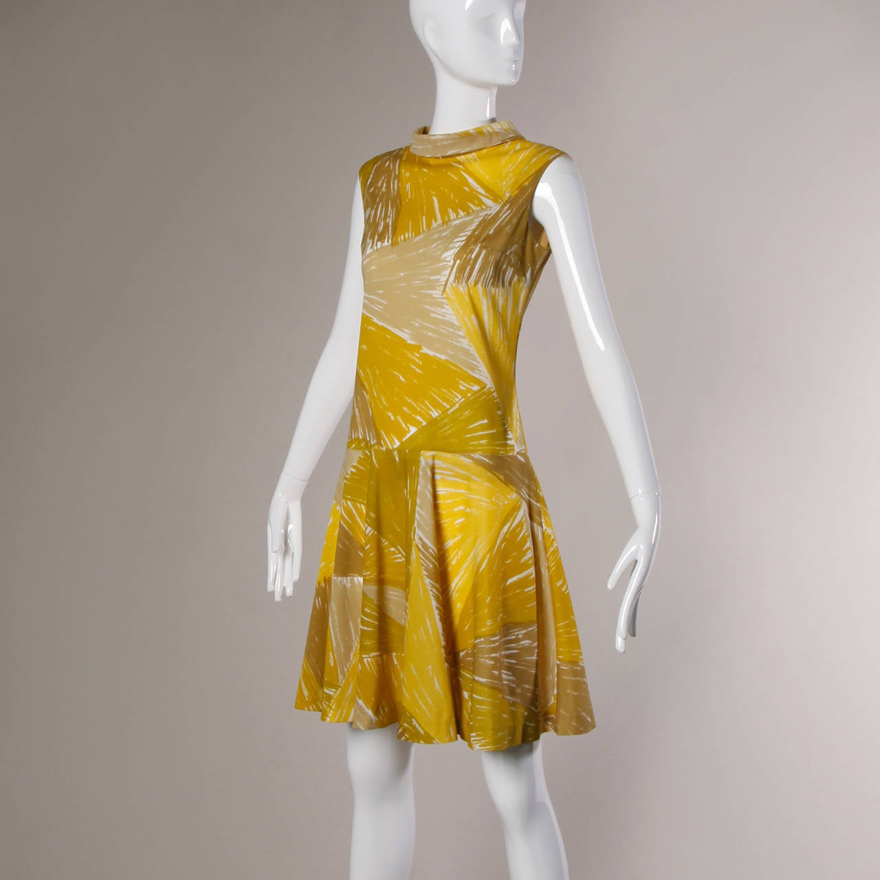 Vera Neumann Vintage 1960s Yellow Mod Painterly Print Mini Dress 3