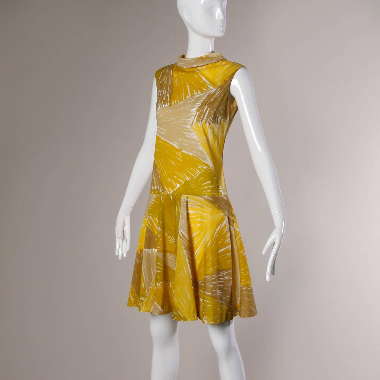 Brown Vera Neumann Vintage 1960s Yellow Mod Painterly Print Mini Dress For Sale