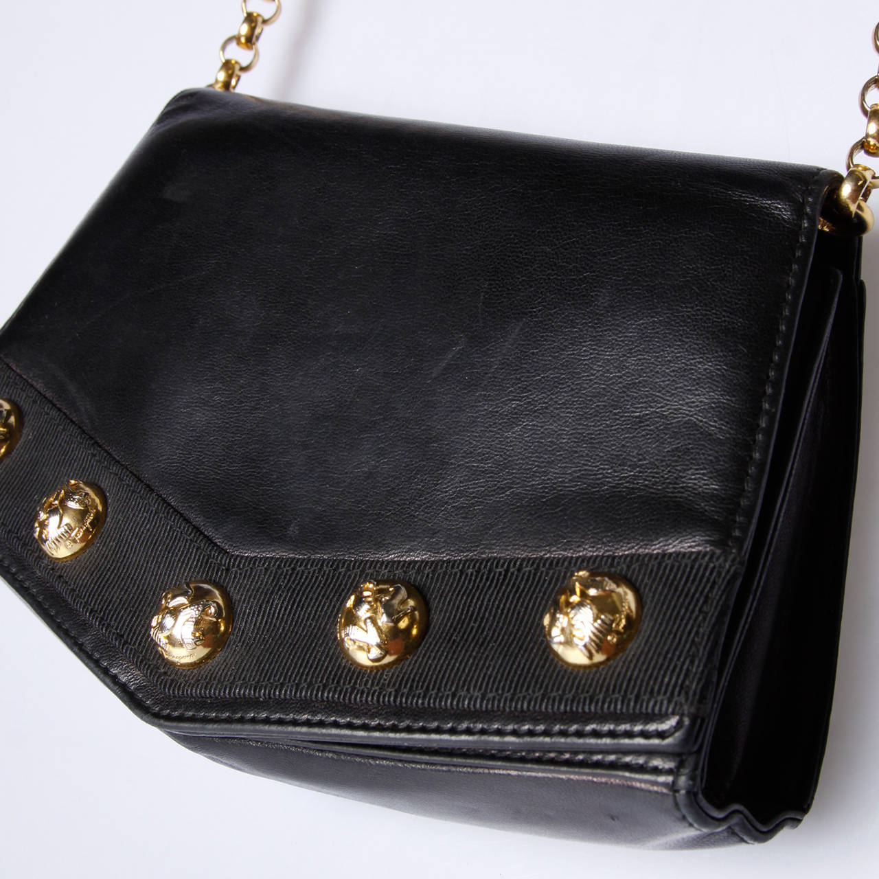 Salvatore Ferragamo Vintage Black Leather Gold Studded Bag Or Purse In Excellent Condition For