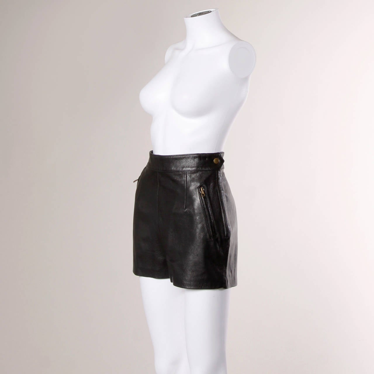 Moschino Vintage Black Leather High Waisted Shorts 3