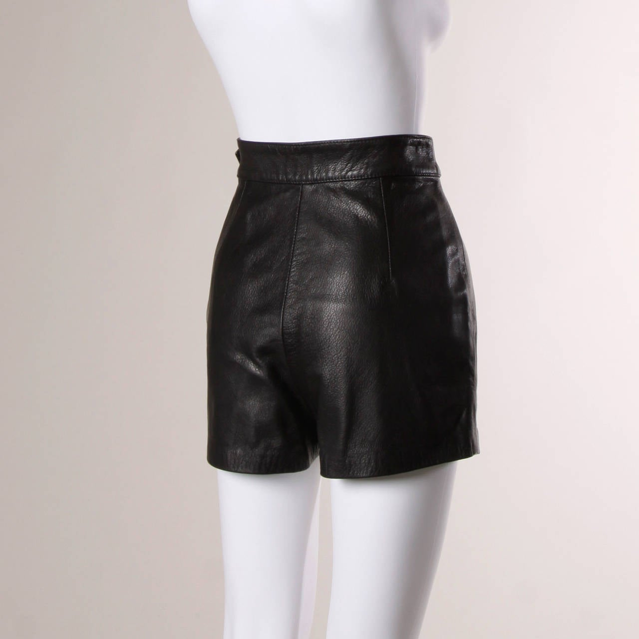 Moschino Vintage Black Leather High Waisted Shorts 5
