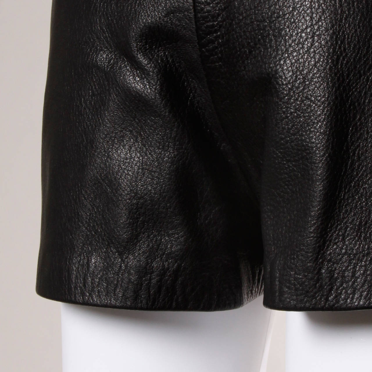 Moschino Vintage Black Leather High Waisted Shorts 6