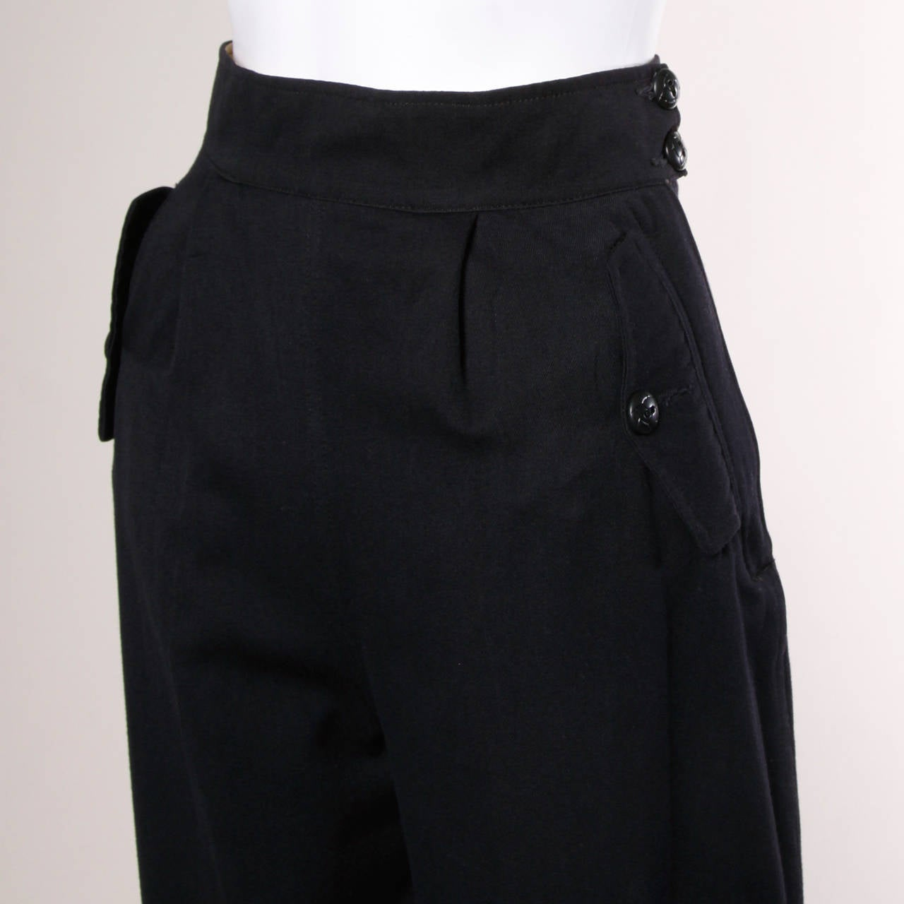 1940s Vintage Navy Blue Wool High Waisted Riding Pants with Stirrups 3