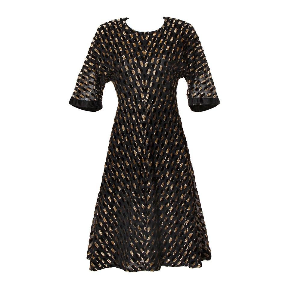 Hardy Amies Vintage Textured Metallic Flocked Organza Dress