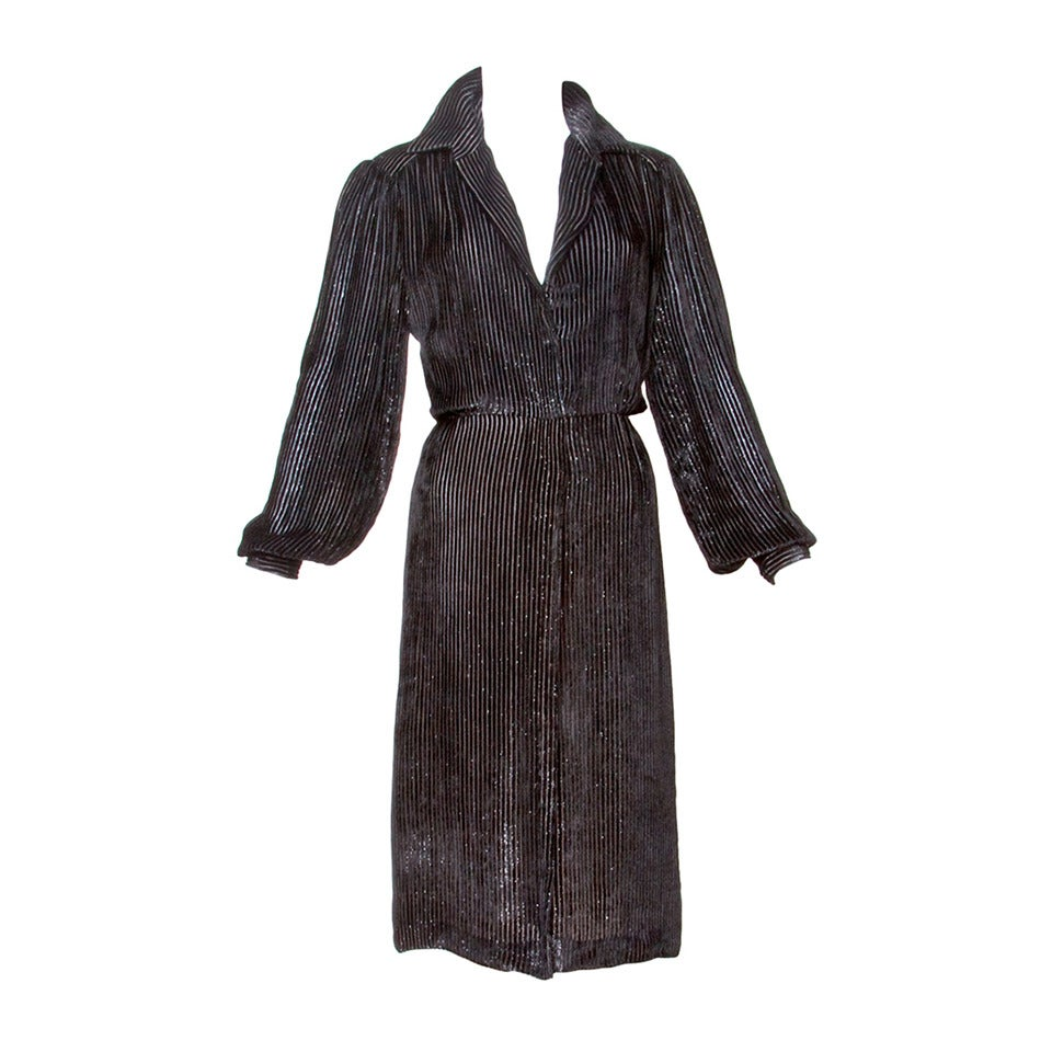 Travilla for I. Magnin Vintage Black Silk Velvet Cocktail Dress For Sale