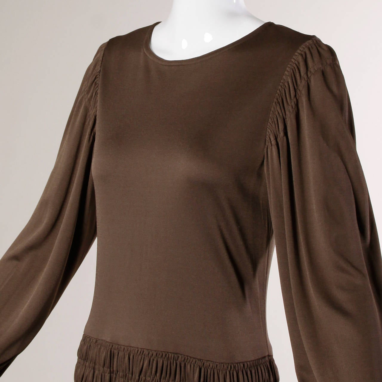 Black Bill Blass for Saks Fifth Avenue Ruched Brown Jersey Knit Dress For Sale