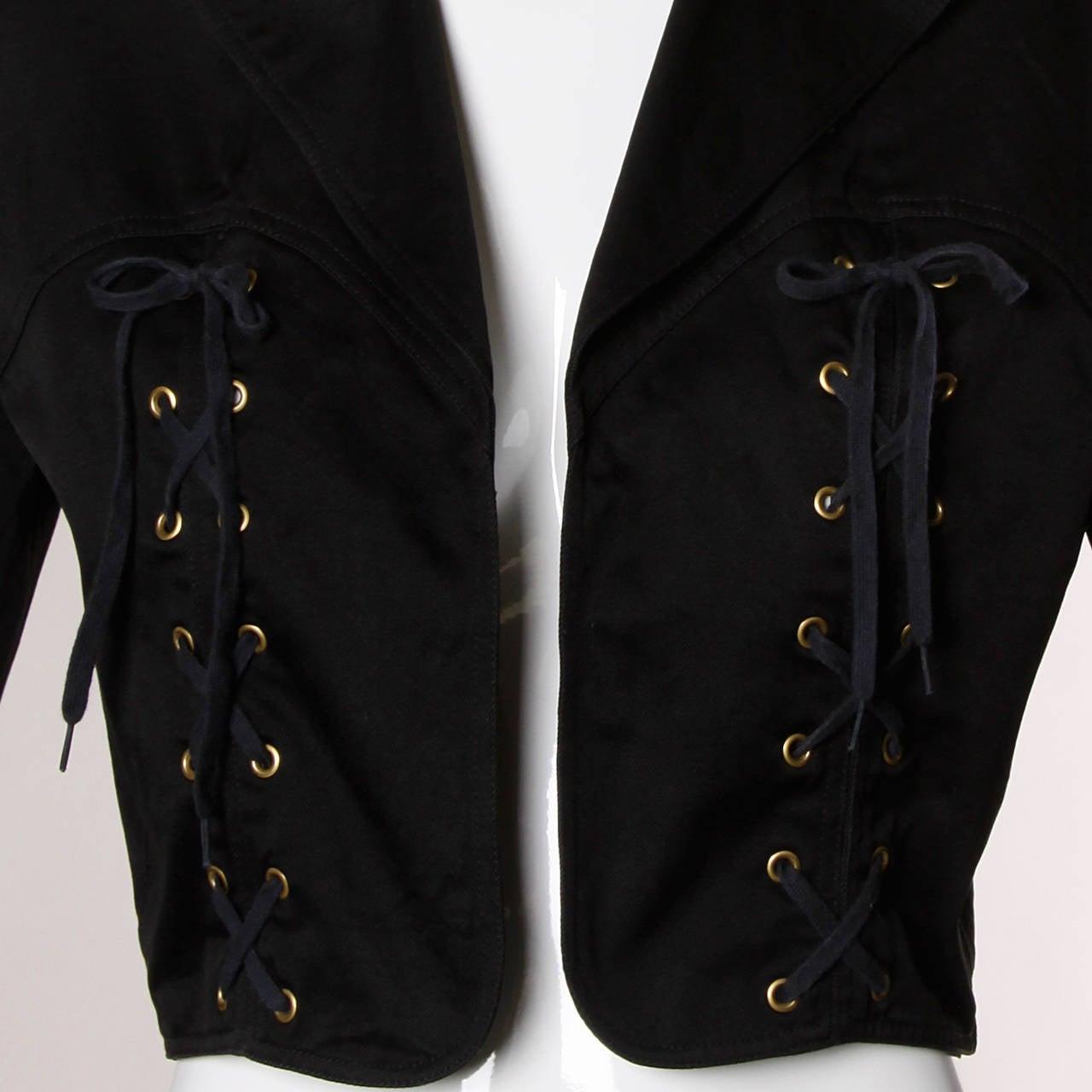 Patrick Kelly Vintage Black Lace Up Grommet Jacket 6