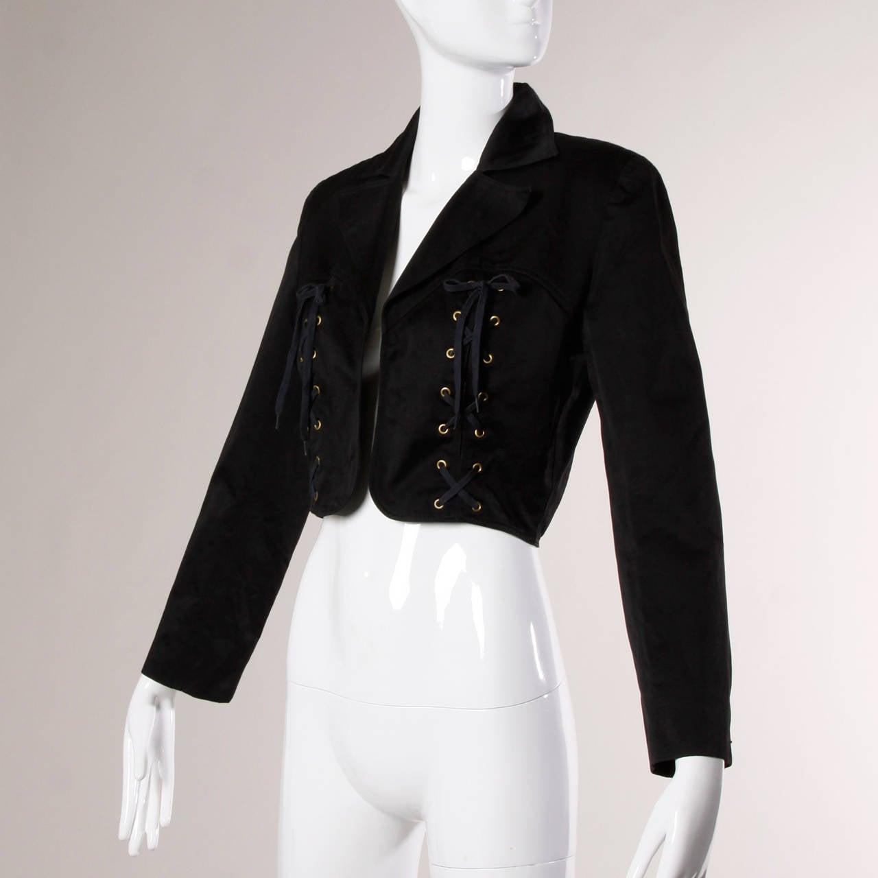 Patrick Kelly Vintage Black Lace Up Grommet Jacket 3