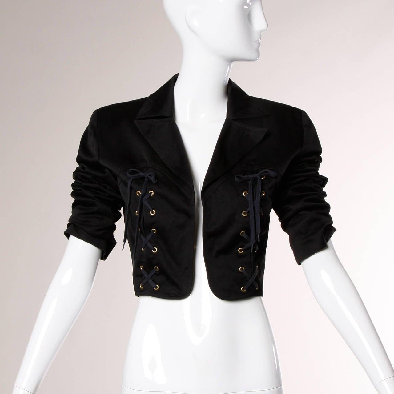 Patrick Kelly Vintage Black Lace Up Grommet Jacket 7