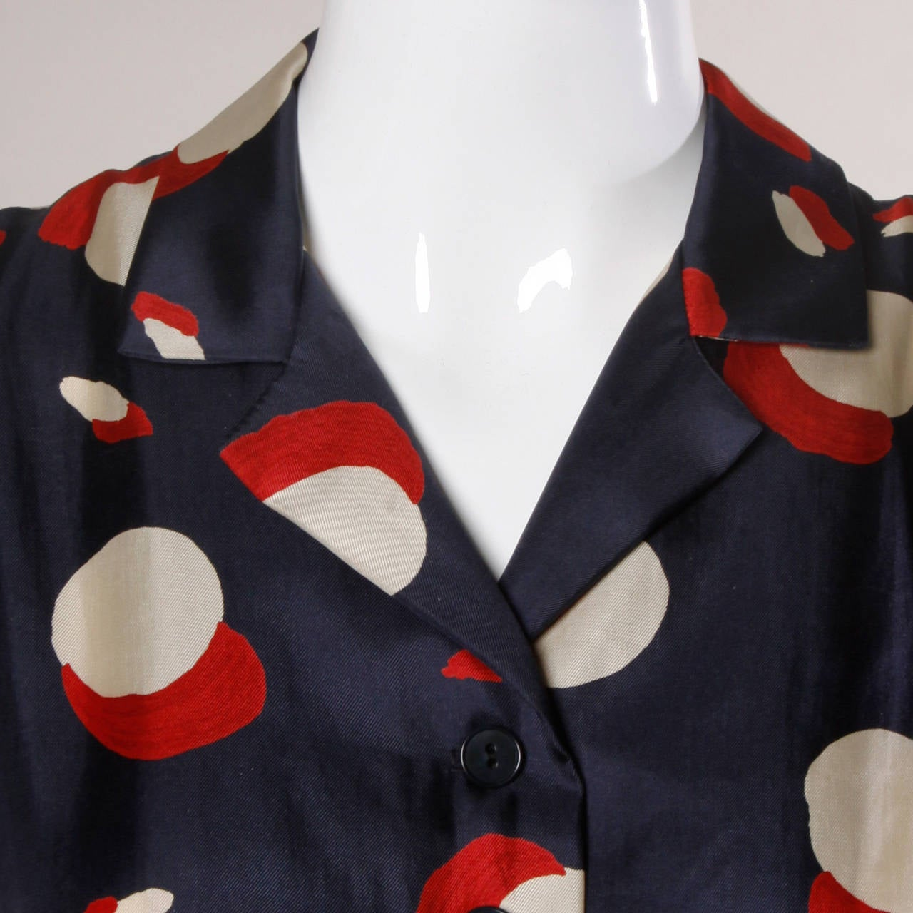 1950s New Look Vintage Polka Dot Print Silk Dress with a Full Sweep 6