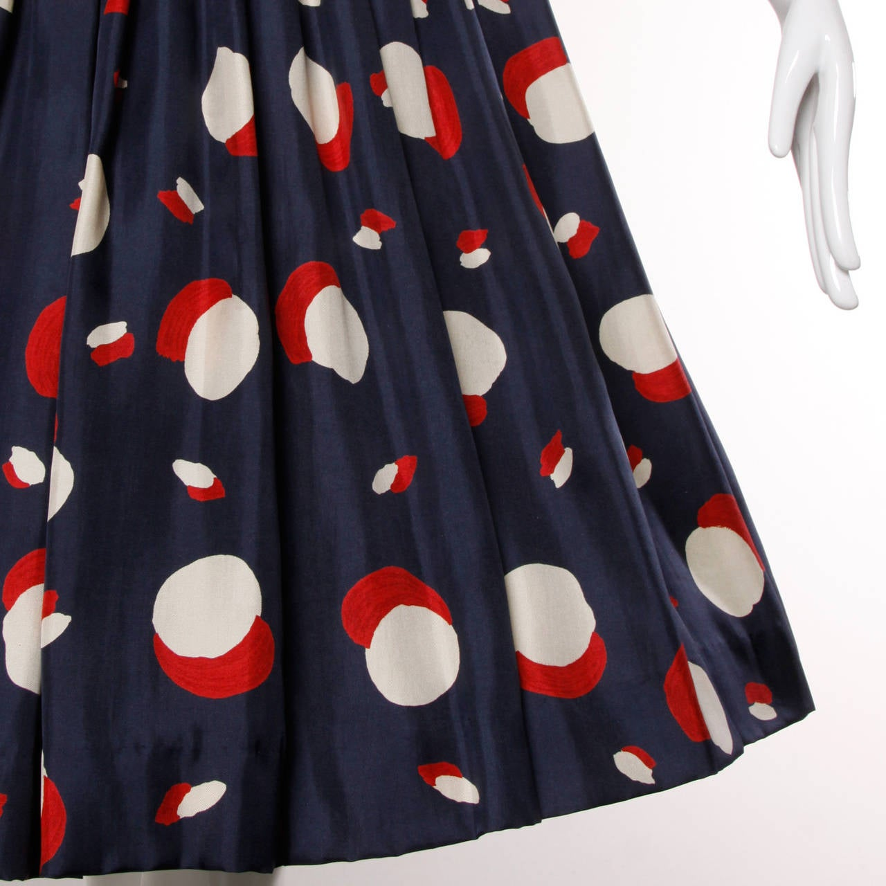 1950s New Look Vintage Polka Dot Print Silk Dress with a Full Sweep 4