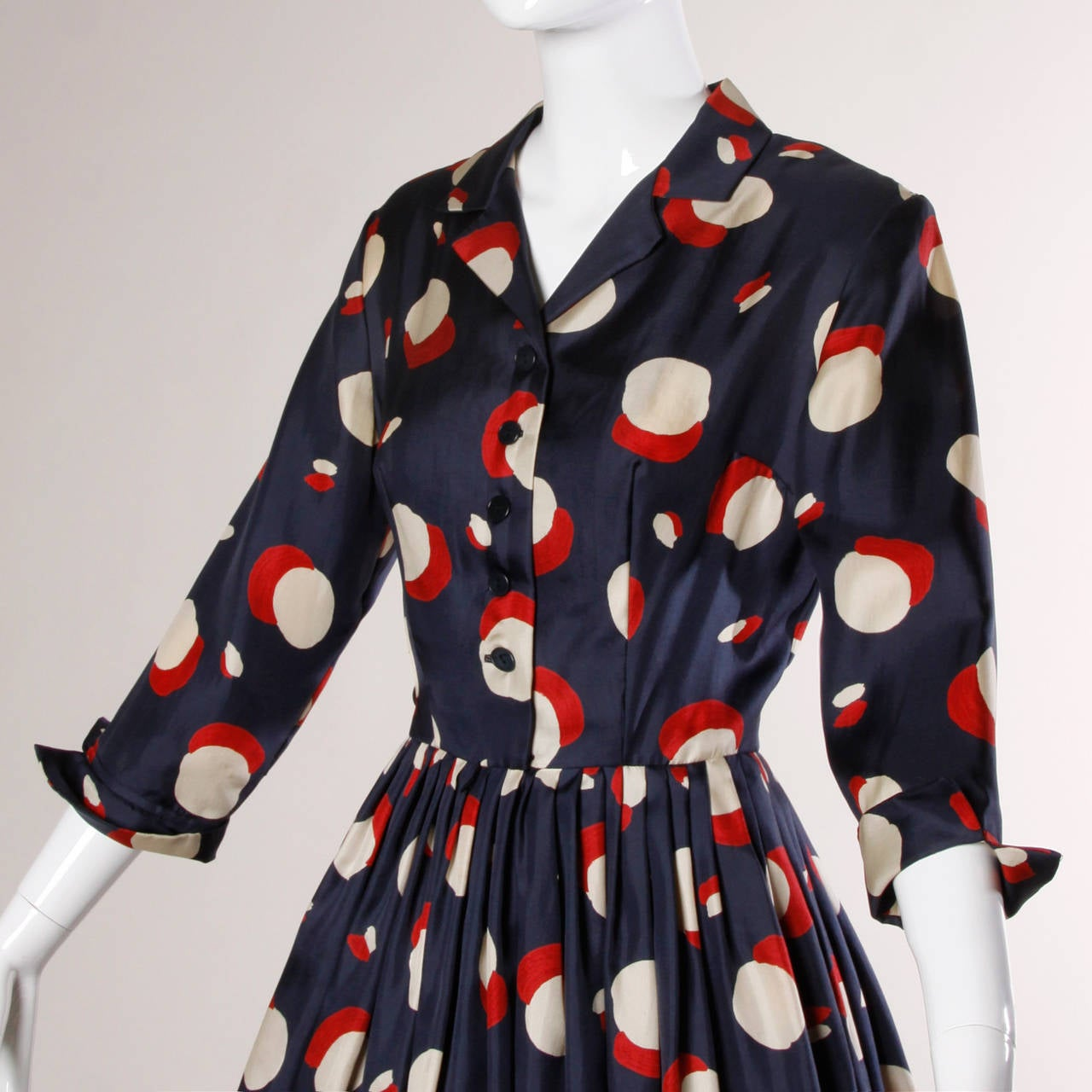 1950s New Look Vintage Polka Dot Print Silk Dress with a Full Sweep 5