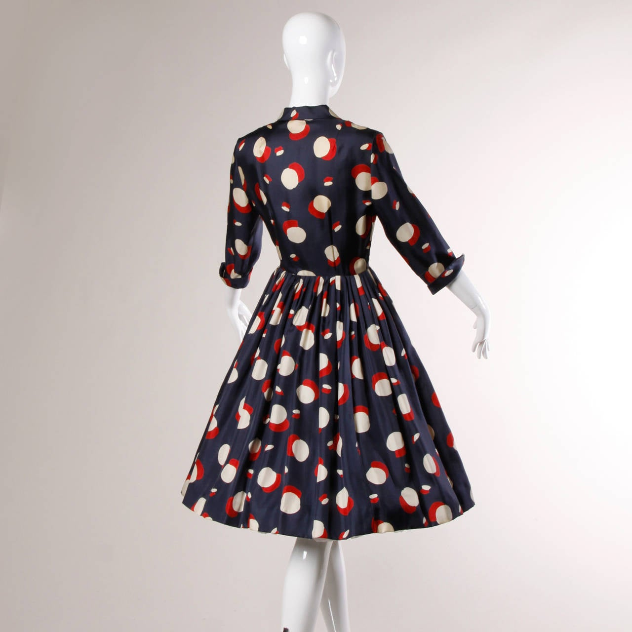 1950s New Look Vintage Polka Dot Print Silk Dress with a Full Sweep 2