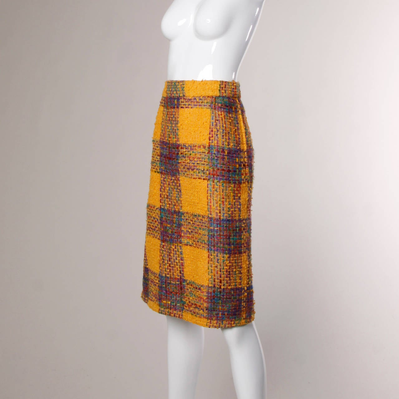 Valentino Vintage Rainbow Plaid Skirt 2