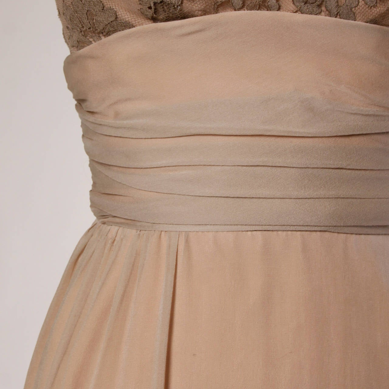 Edith Flagg Vintage 1960s Nude Illusion Silk + Lace Cocktail Dress 4