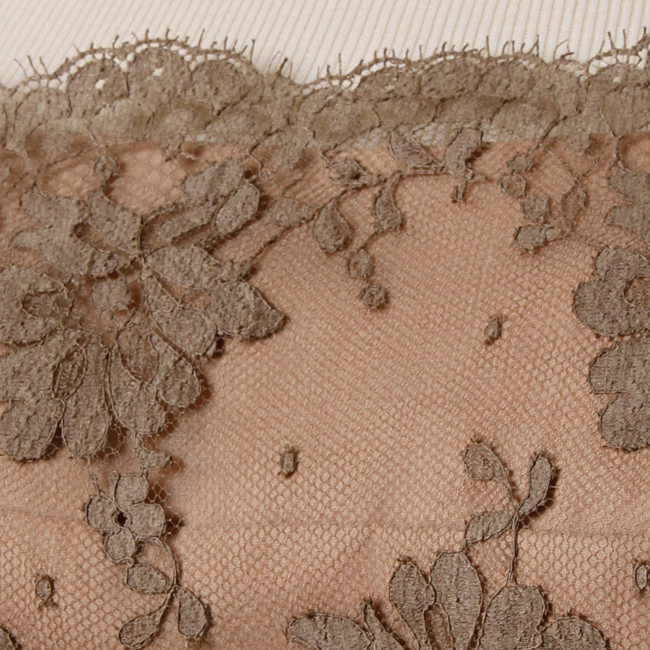 Brown Edith Flagg Vintage 1960s Nude Illusion Silk + Lace Cocktail Dress For Sale