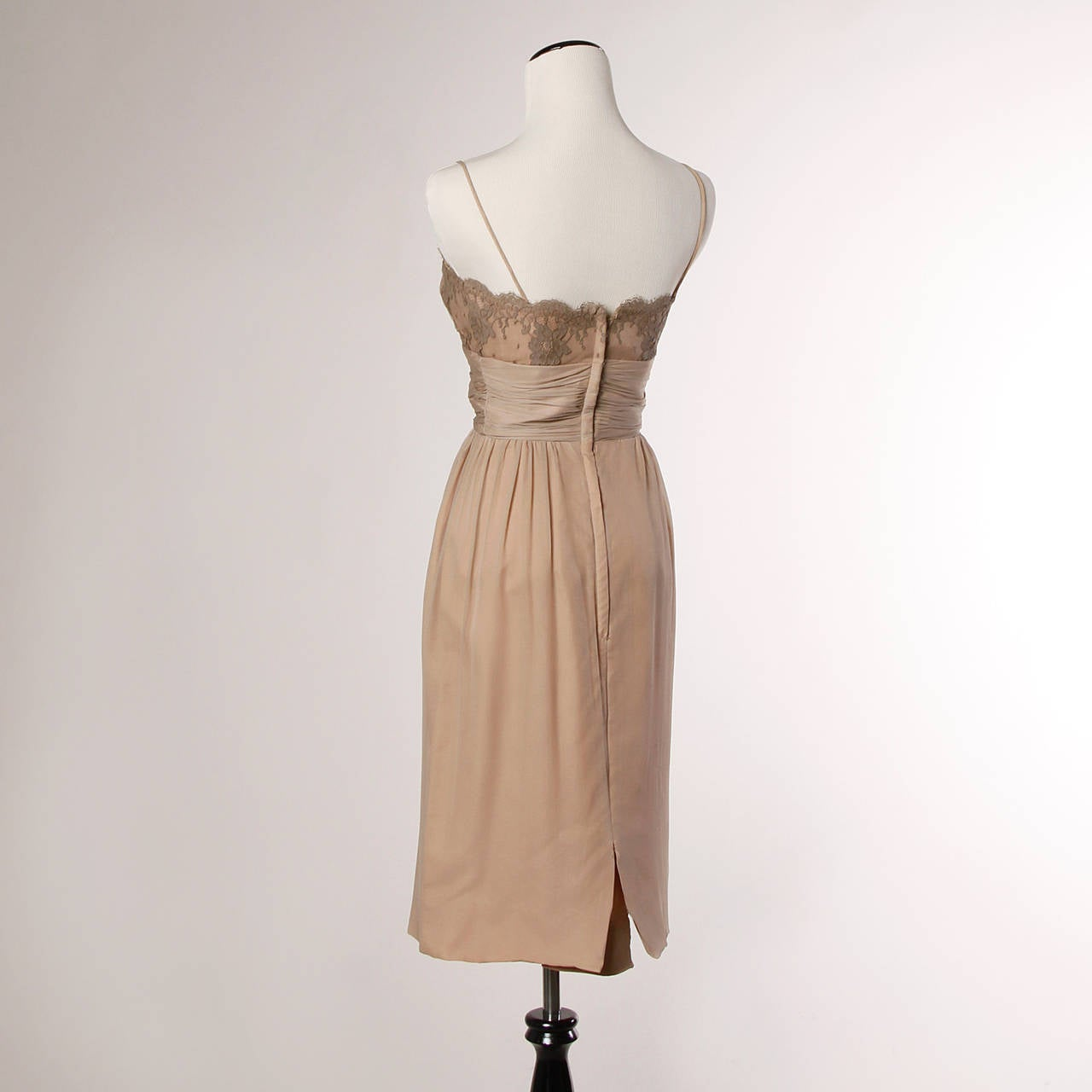 Women's Edith Flagg Vintage 1960s Nude Illusion Silk + Lace Cocktail Dress For Sale
