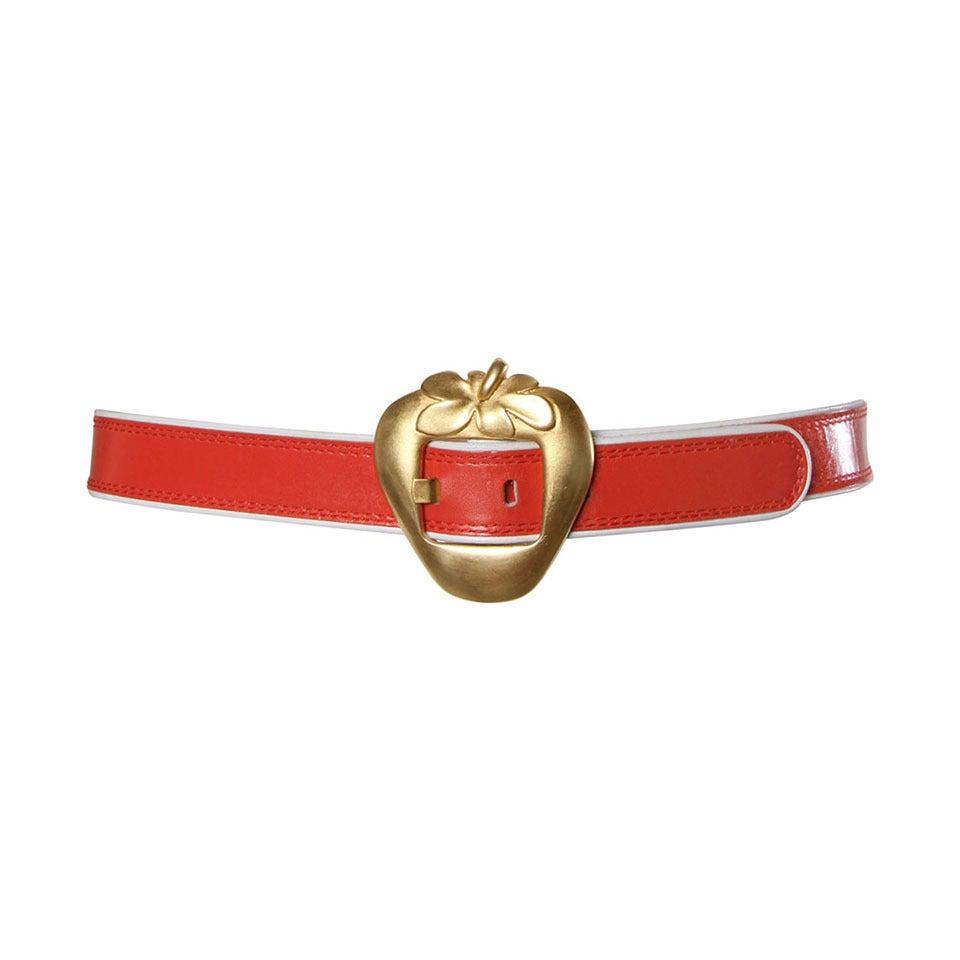 "Escada Vintage Red Leather ""Strawberry"" Belt For Sale at 1stdibs"