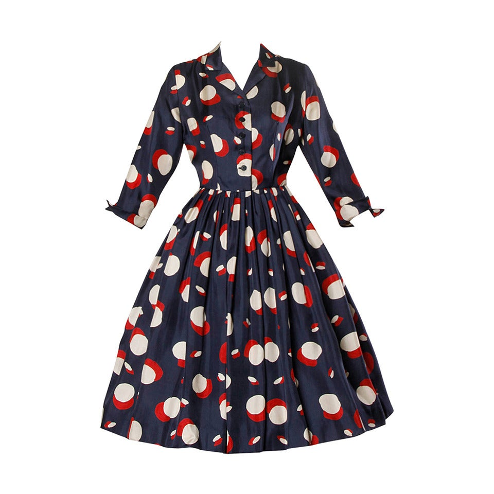 1950s New Look Vintage Polka Dot Print Silk Dress with a Full Sweep 1