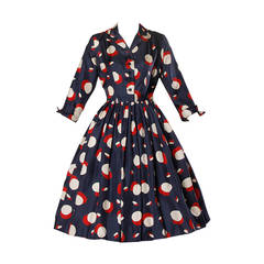 1950s New Look Vintage Polka Dot Print Silk Dress with a Full Sweep