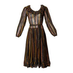 Adini Vintage 1970s India Sheer Metallic Cotton Gauze Dress + Sash