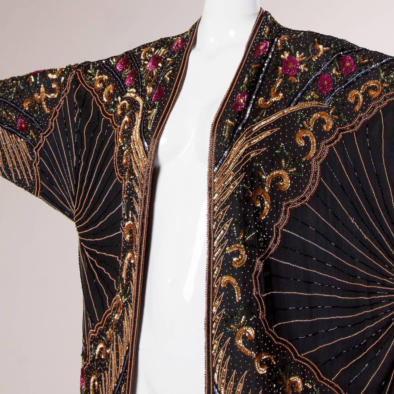 Judith Ann For I Magnin Vintage Sequin Beaded Silk