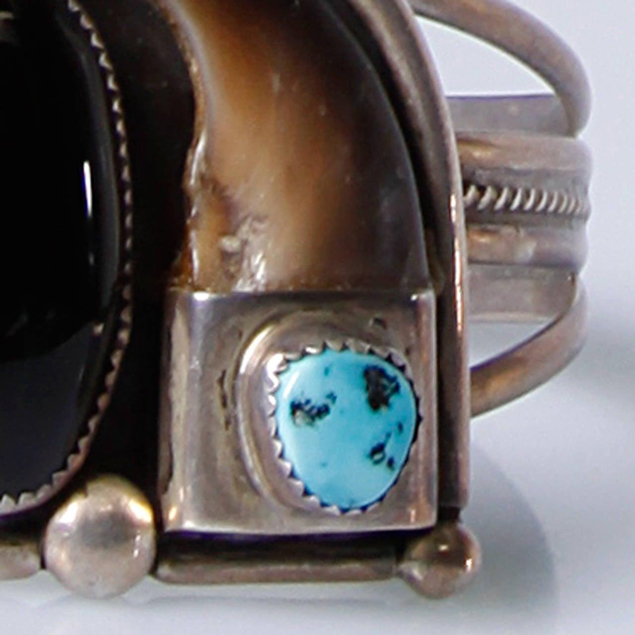 Signed Lutz Whitebird Cherokee Bear Claw, Turquoise + Sterling Cuff Bracelet 4