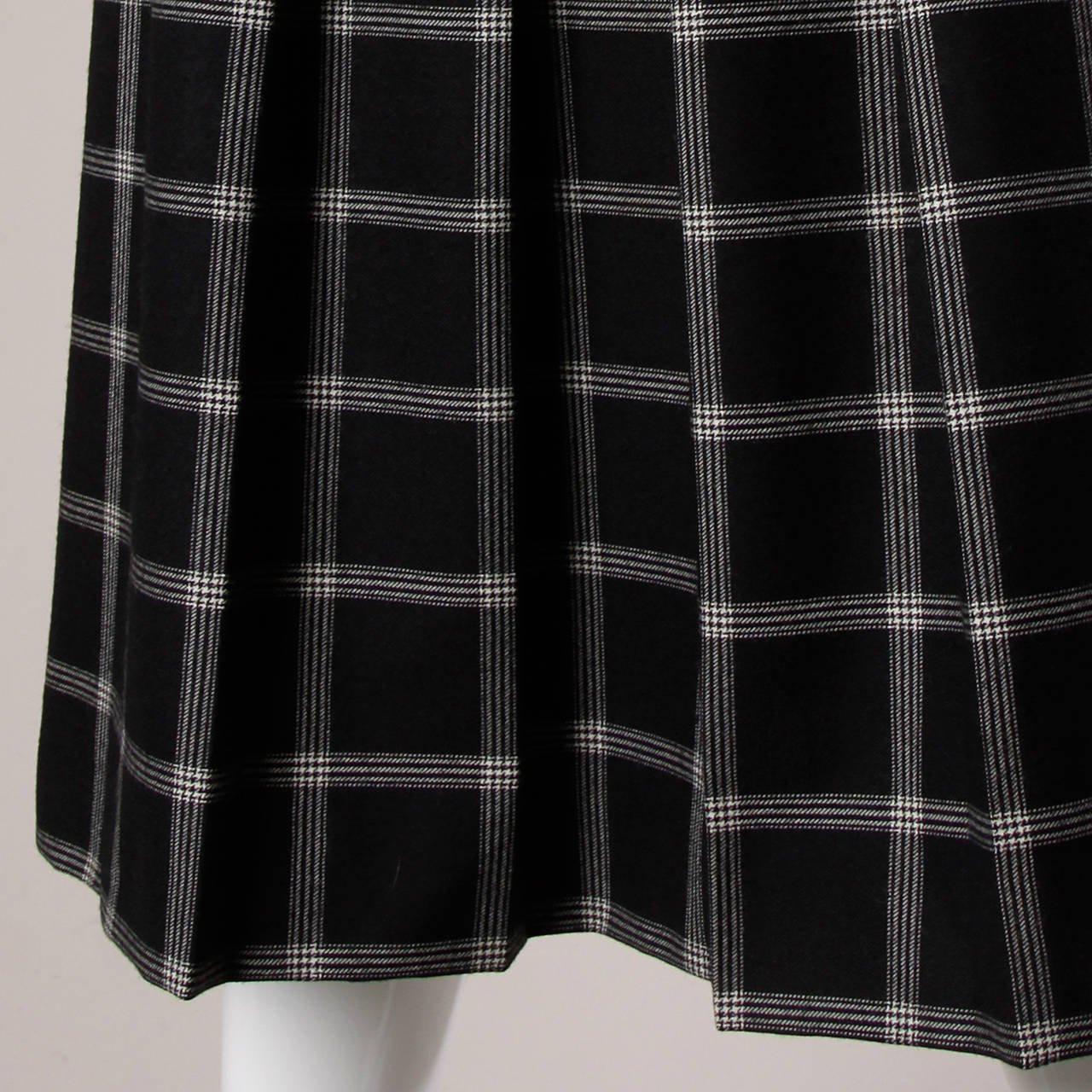 Koos Van Der Akker Vintage Black + White Plaid Wool Skirt 3