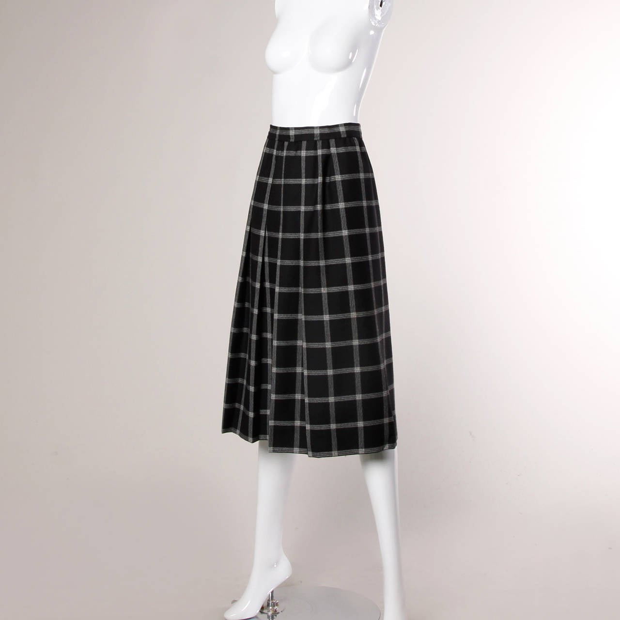 Koos Van Der Akker Vintage Black + White Plaid Wool Skirt 2