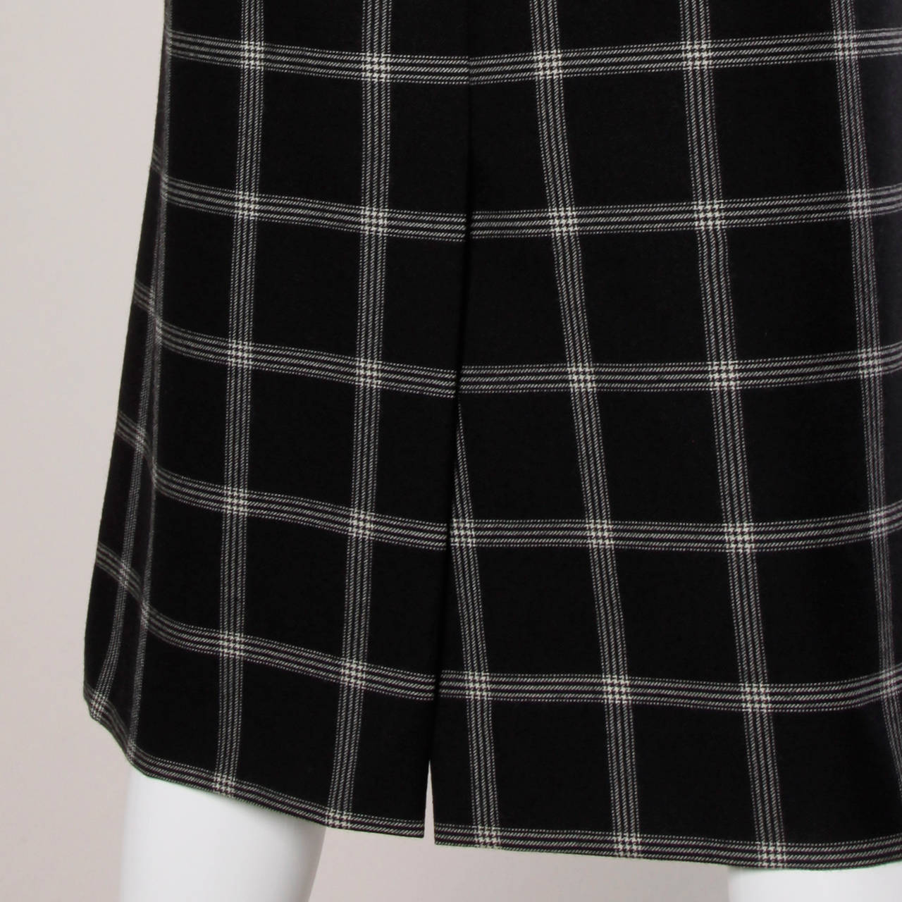 Koos Van Der Akker Vintage Black + White Plaid Wool Skirt 5