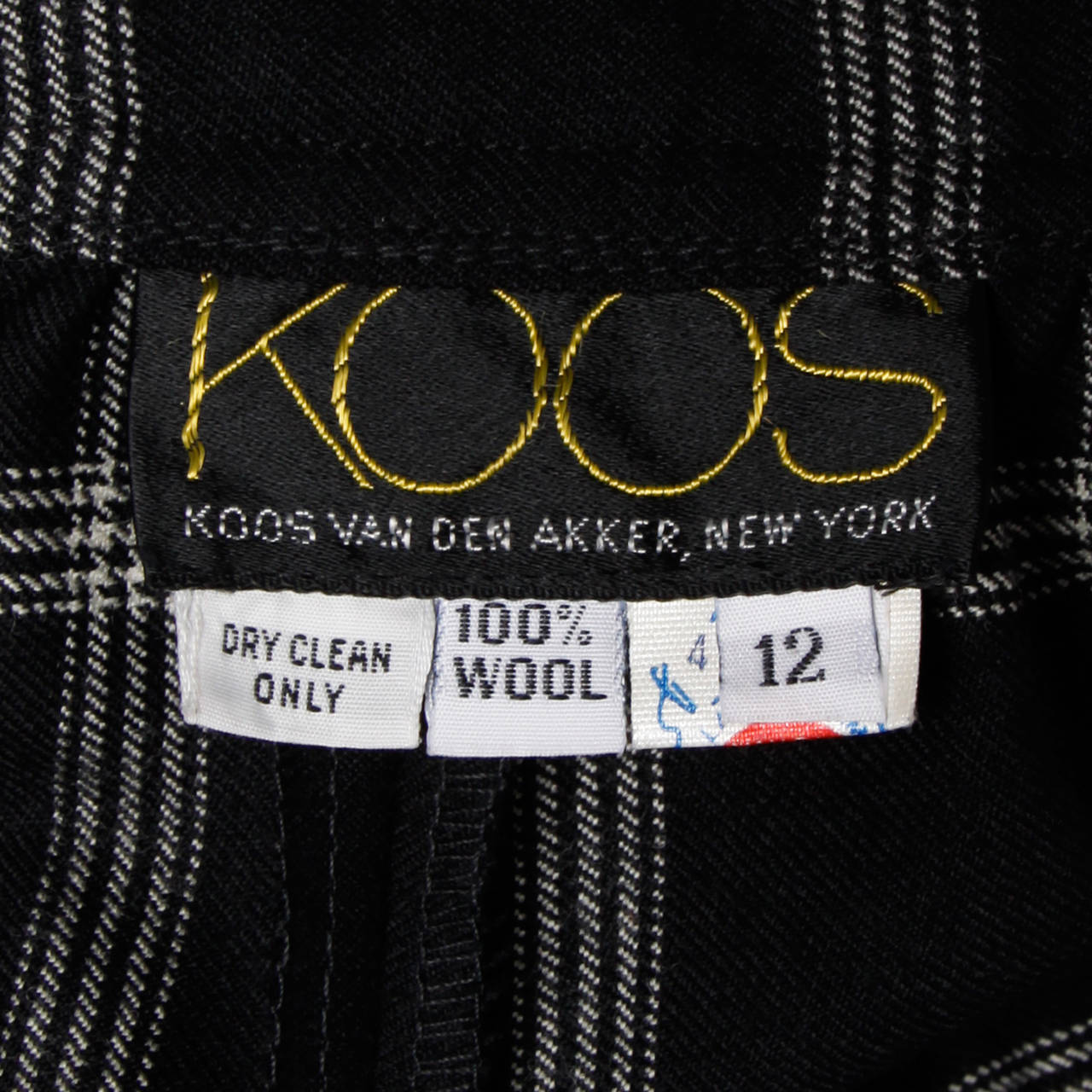 Koos Van Der Akker Vintage Black + White Plaid Wool Skirt 7