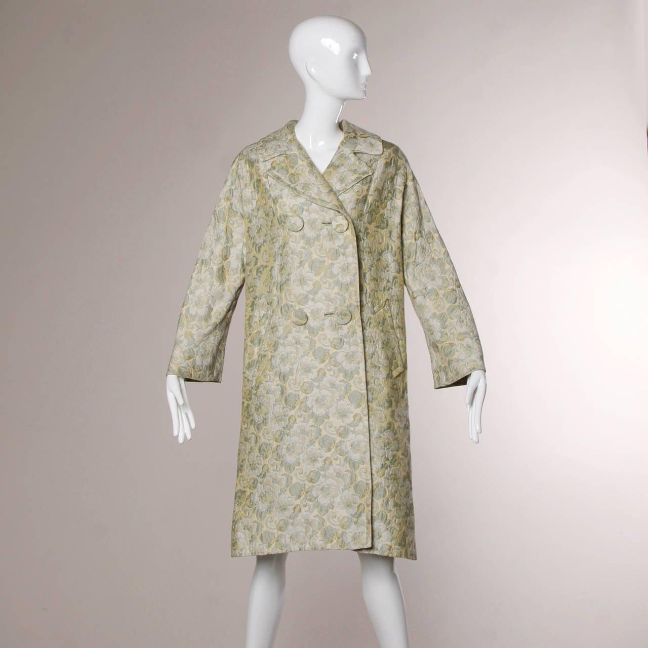 Joseph Magnin 1960s Vintage Metallic Brocade Tapestry Trench Coat 7