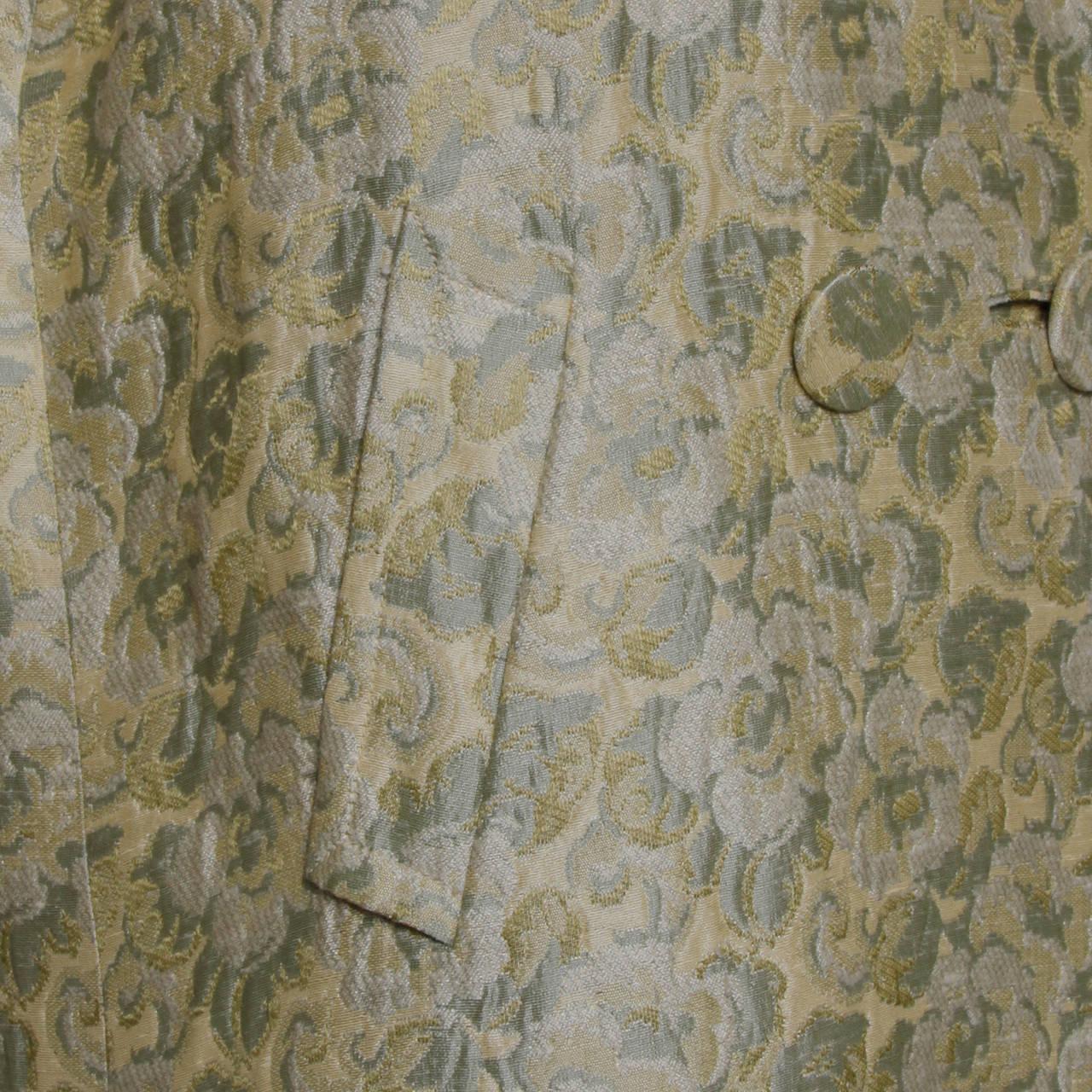 Joseph Magnin 1960s Vintage Metallic Brocade Tapestry Trench Coat 6