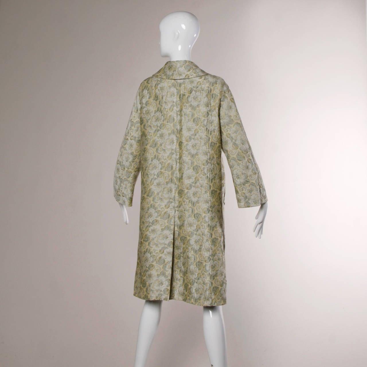 Joseph Magnin 1960s Vintage Metallic Brocade Tapestry Trench Coat 5