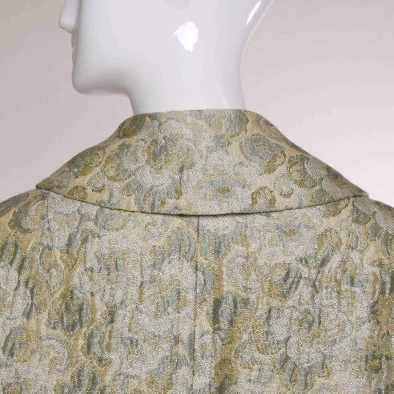 Joseph Magnin 1960s Vintage Metallic Brocade Tapestry Trench Coat 8