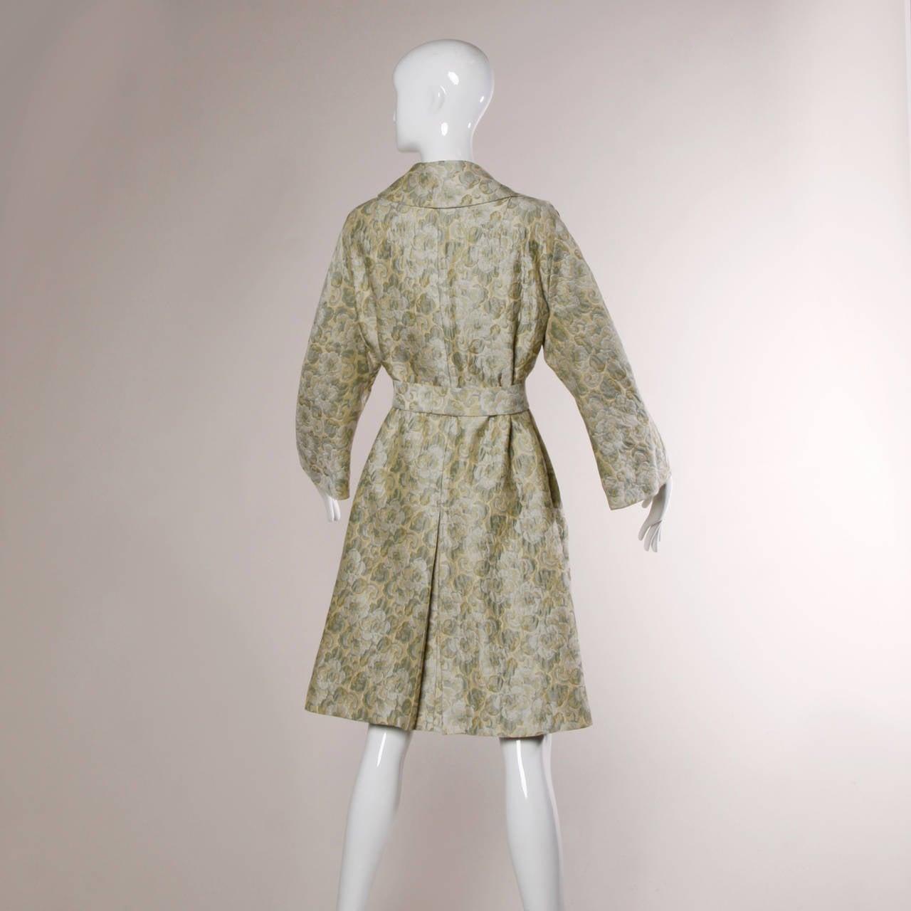 Joseph Magnin 1960s Vintage Metallic Brocade Tapestry Trench Coat 4