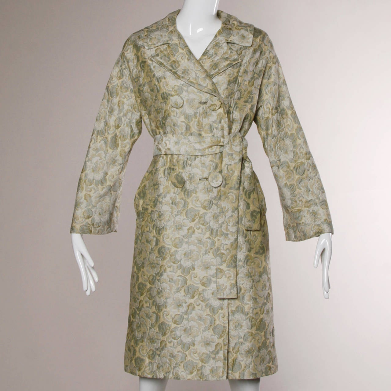 Joseph Magnin 1960s Vintage Metallic Brocade Tapestry Trench Coat 2