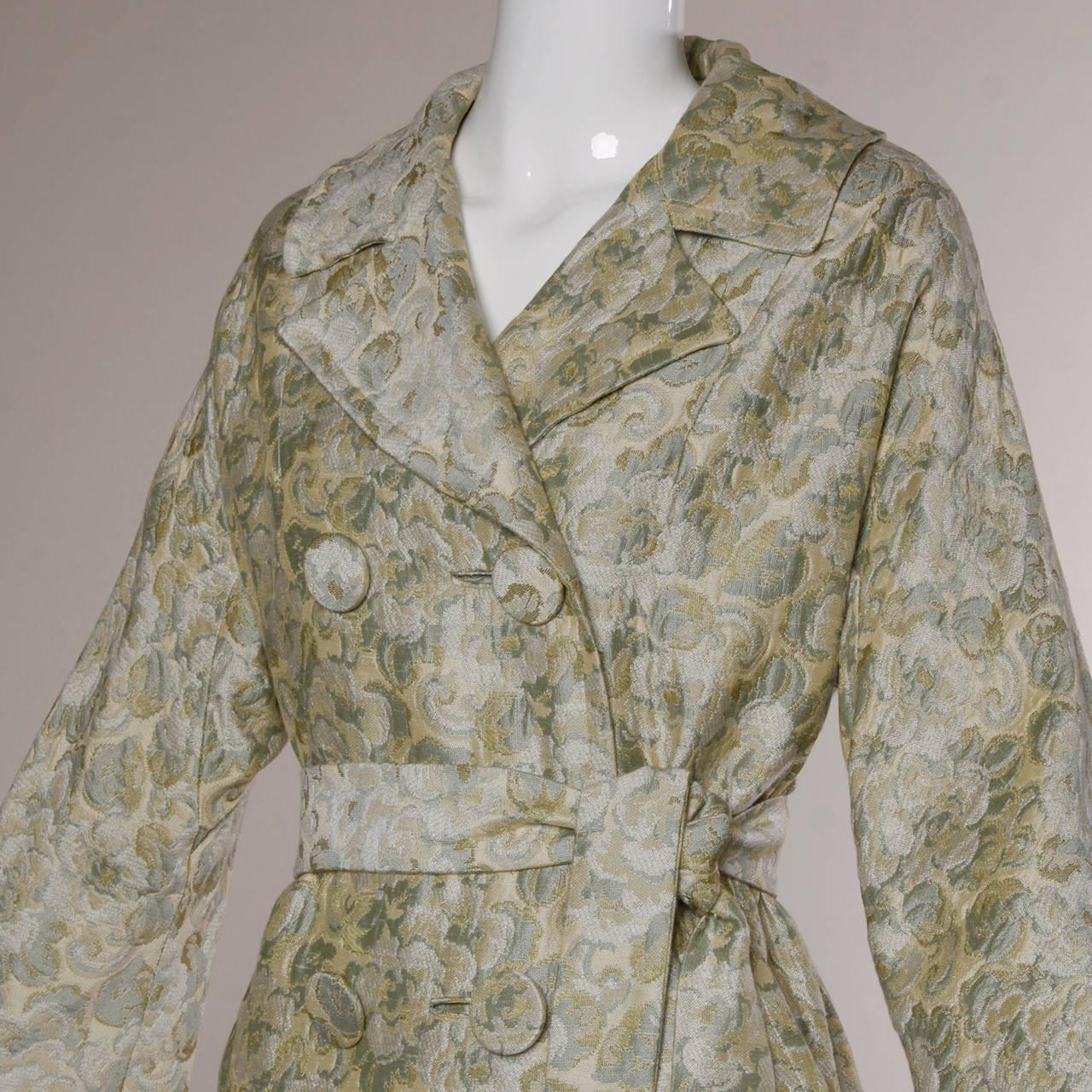 Joseph Magnin 1960s Vintage Metallic Brocade Tapestry Trench Coat 3