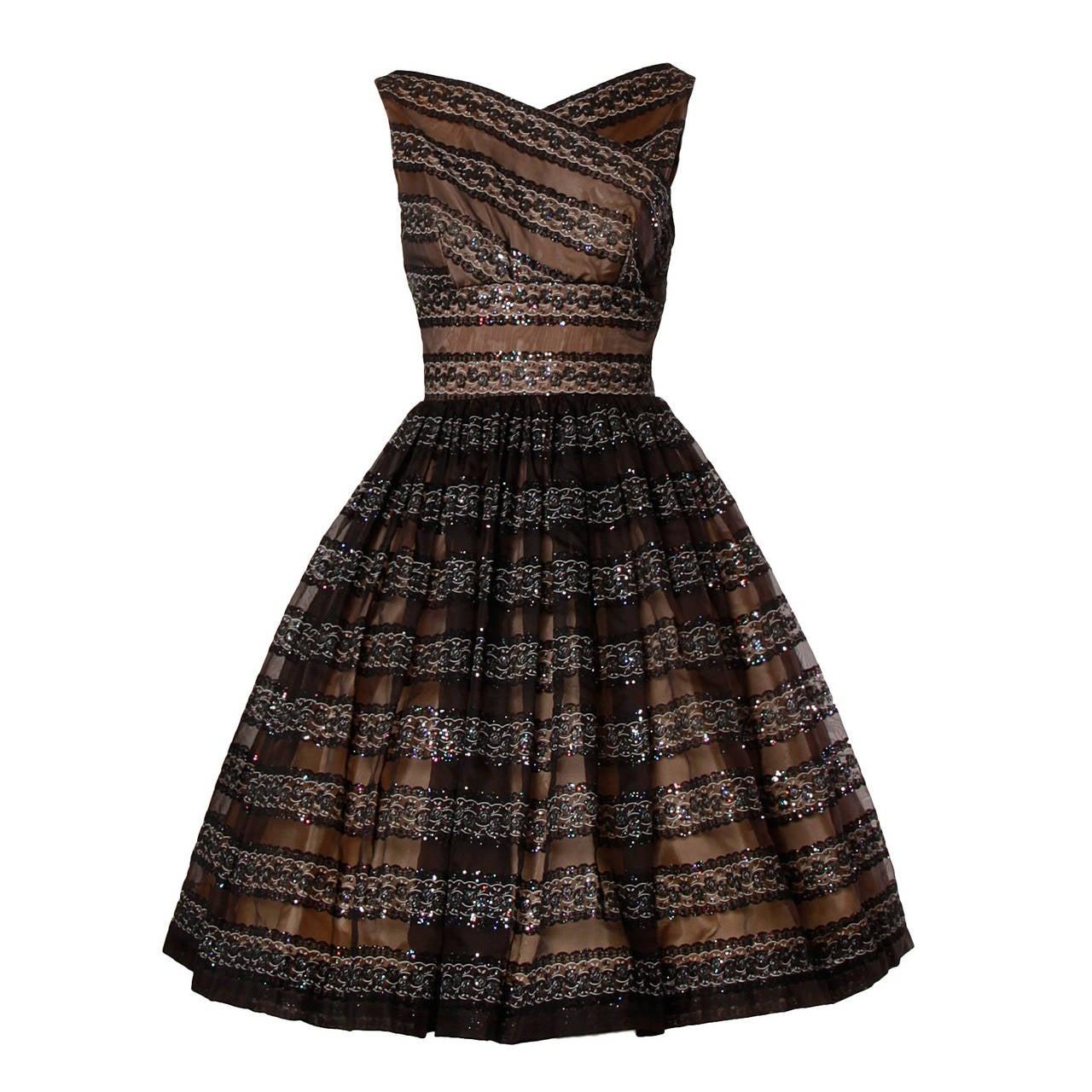 1950s Vintage Flocked Velvet + Glitter Nude Illusion Cocktail Dress ...
